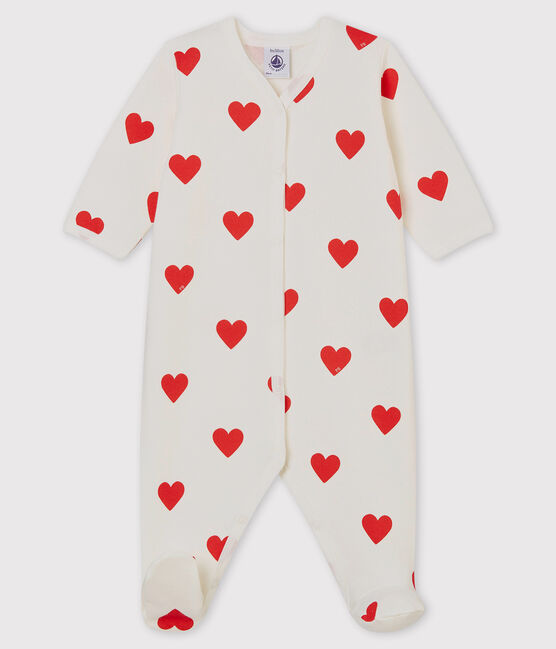Baby Red Heart Ribbed Sleepsuit Marshmallow white / Terkuit red
