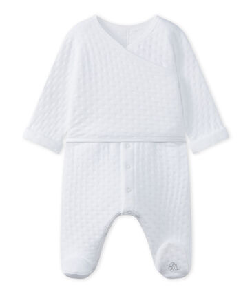 Baby's unisex sleepsuit in quilted tube knit Ecume white