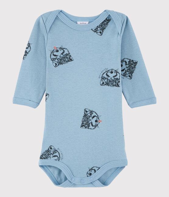 Unisex Babies' Long-Sleeved Bodysuit Acier blue / Multico white