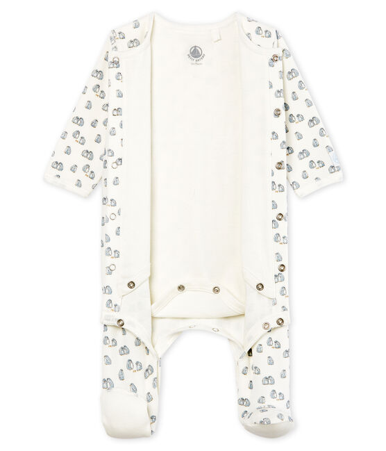 Baby Boys' Velour Bodyjama Marshmallow white / Multico white