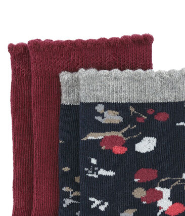 Set of 2 pairs of socks, coloured and with a floral pattern