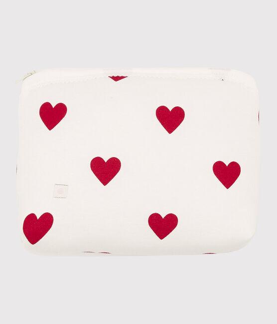 Babies' Red Heart Pattern Cotton Case Marshmallow white / Terkuit red