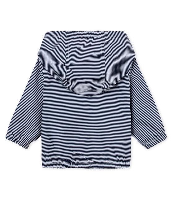 Unisex baby's striped windbreaker Smoking blue / Marshmallow white