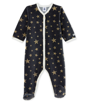 Baby Girls' Velour Sleepsuit Capecod grey / Or yellow