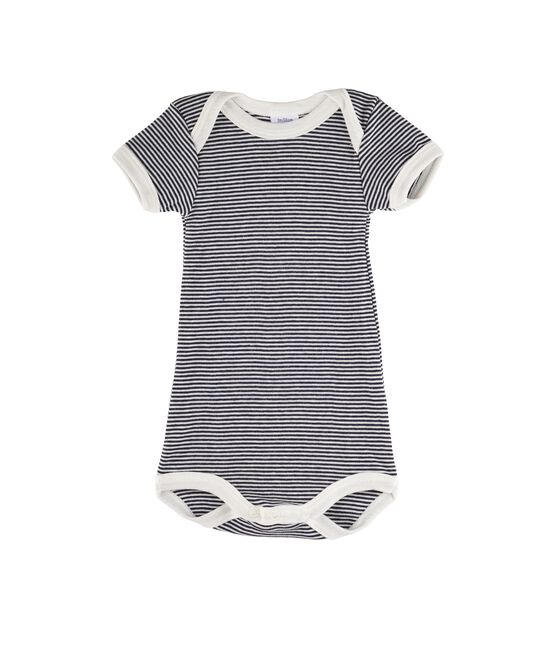 Baby Girls' Short-Sleeved Bodysuit Smoking blue / Lait white