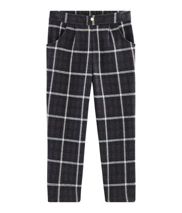 Girls' Checked Knit Trousers City black / Multico white