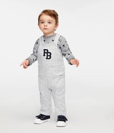 Baby Boys' Long Dungarees in Velour Knit Beluga grey
