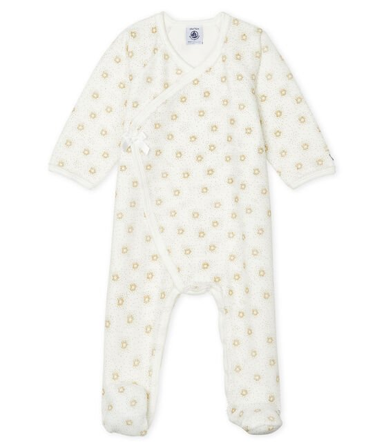Baby Girls' Velour Sleepsuit Marshmallow white / Or yellow
