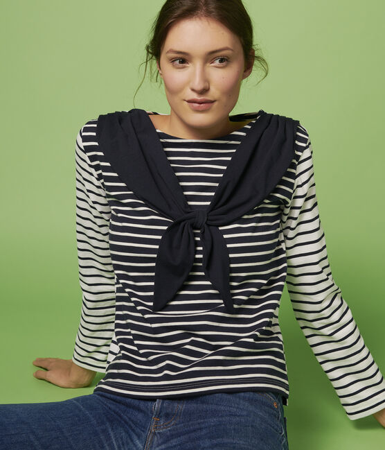 Women's Fine Breton Top. Marshmallow white / Smoking blue