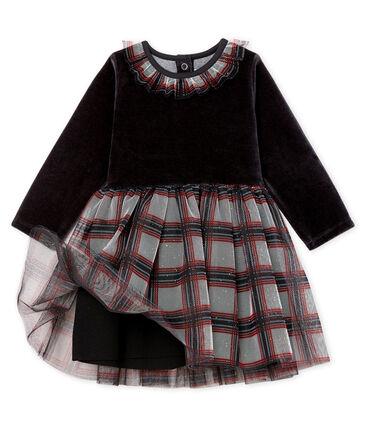 Baby Girls' Long-Sleeved Dual Material Dress Noir black / Multico white