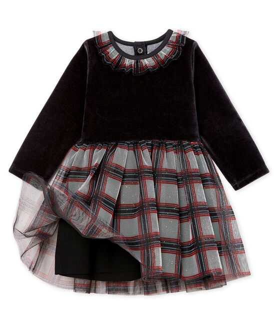 Baby Girls' Long-Sleeved Dual Material Dress Noir black / Multico white