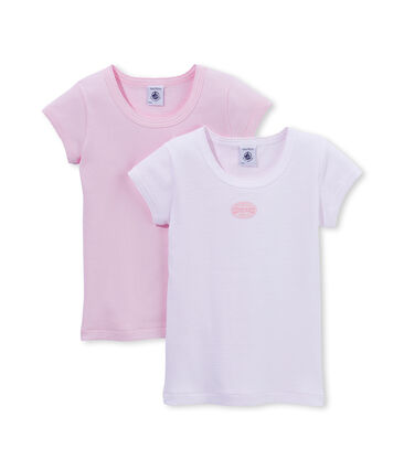 Lot de 2 t-shirts fille uni / milleraies . set