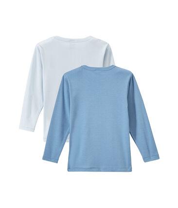 Set of 2 boys' plain long-sleeved t-shirts