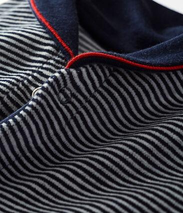 Baby boy's velour sleepsuit in milleraies stripes