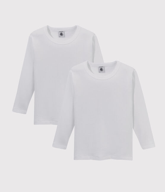 Set of 2 little boys' long-sleeved white t-shirts. . set