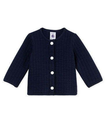 Baby girls' cardigan in quilted tube knit Smoking blue