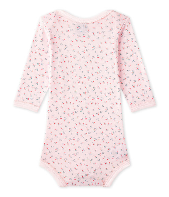 Baby girls' printed long-sleeved bodysuit Vienne pink / Multico white