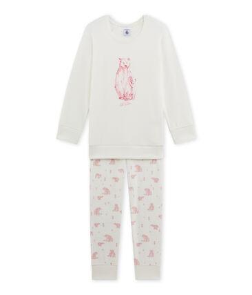 Girl's terry cloth pyjamas Lait white / Vienne pink