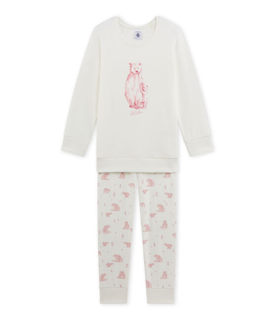 Girl's terry cloth pyjamas Lait white / Vienne pink