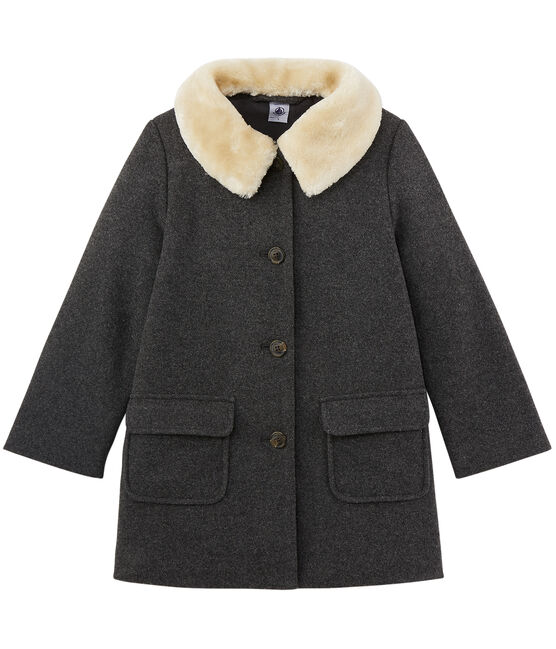 Girl's coat in wool blend Subway grey
