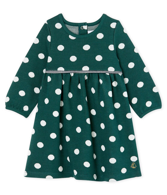 Baby Girls' Long-Sleeved Spotted Dress Sousbois green / Marshmallow white