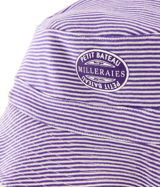 Women's reversible rib knit bucket hat Marshmallow white / Real purple