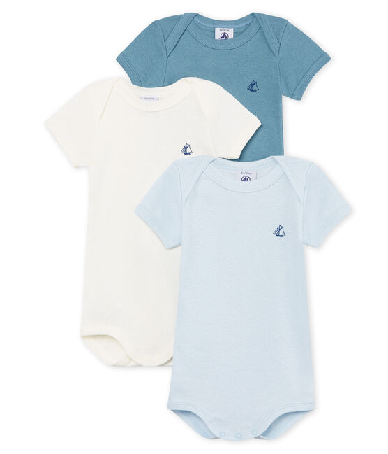 Baby Boys' Short-Sleeved Cotton and Linen Bodysuit - Set of 3 . set