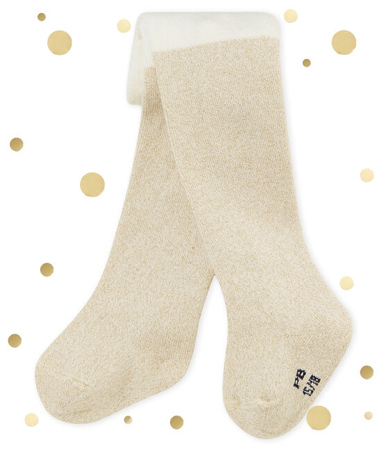 Baby girl's shiny tights Marshmallow white / Dore yellow