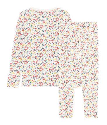 Girls' Snugfit Ribbed Pyjamas Marshmallow white / Multico white