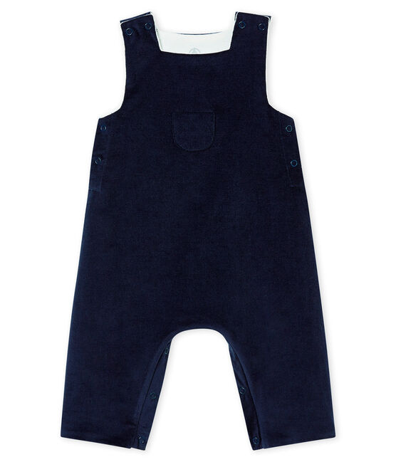 Baby boy's very fine corduroy dungarees Smoking blue