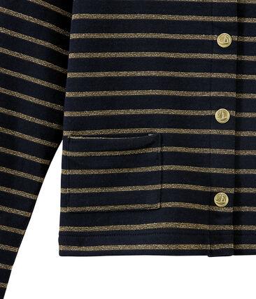 Girl's dual fabric cardigan