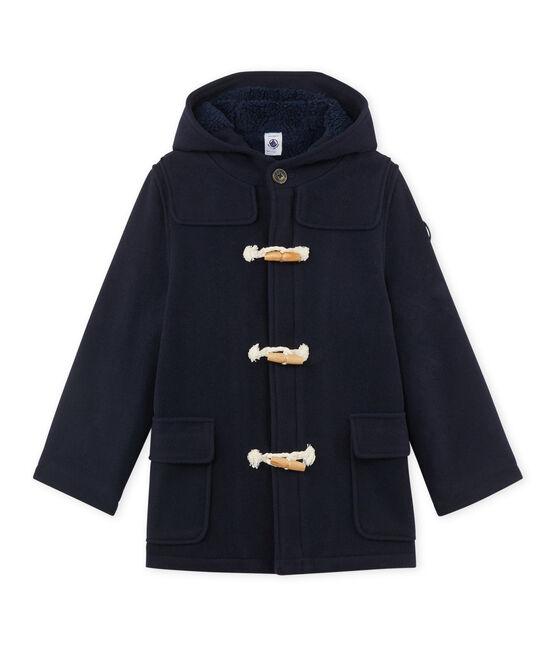 Boy's lined duffel coat in wool broadcloth Smoking blue