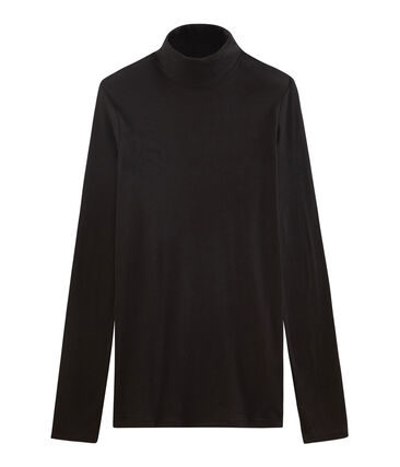Women's light cotton polo neck Noir black