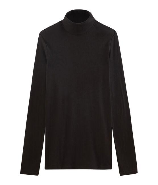 Women's light cotton polo neck Noir black