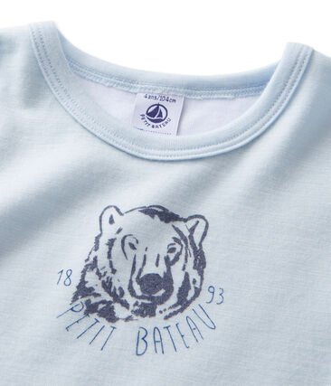 Boy's short-sleeved T-shirt in wool and cotton Fraicheur blue