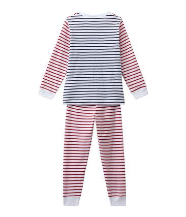Boy's striped pyjamas Ecume white / Multico white