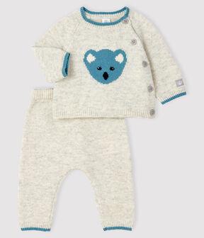 2-piece jacquard knit baby set Beluga grey