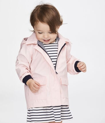 Iconic waxed coat for baby girls Minois pink