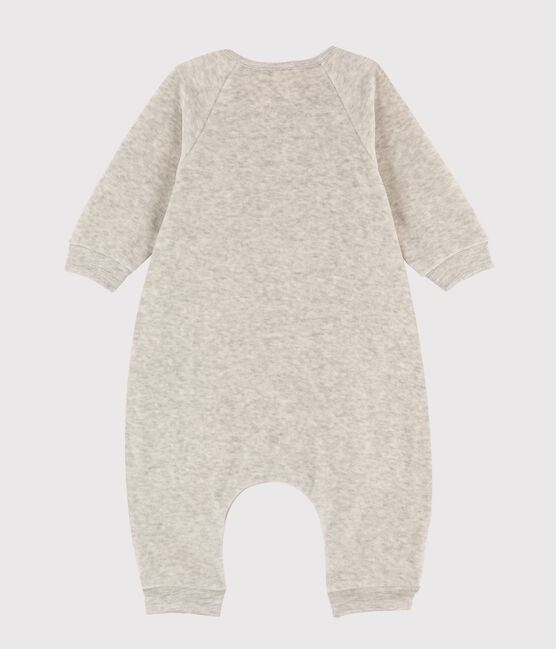 Babies' Marled Grey Velour Long Jumpsuit Beluga grey