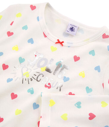 Girls' Ribbed Pyjamas Marshmallow white / Multico white