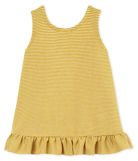 Baby Girls' Sleeveless Dress Bamboo yellow / Marshmallow white