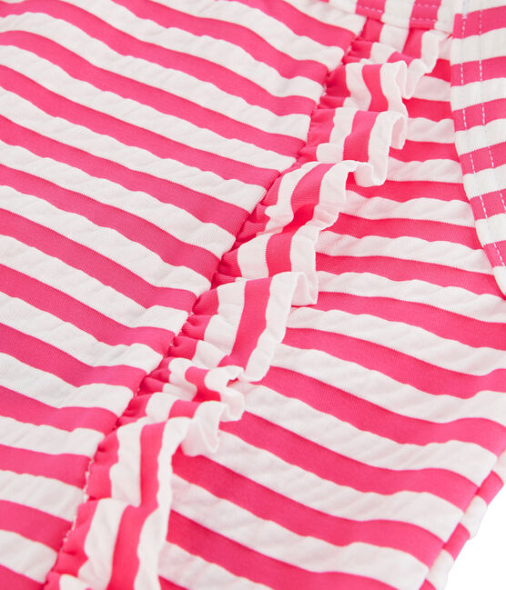 Stripy one-piece swimsuit with ruffle details. Geisha pink / Marshmallow white