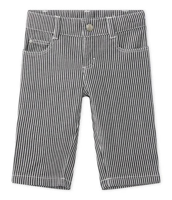 Baby boys' striped trousers Smoking blue / Marshmallow white