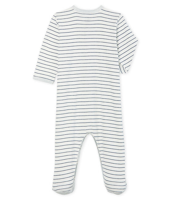 Baby Boys' Ribbed Sleepsuit Marshmallow white / Medieval blue