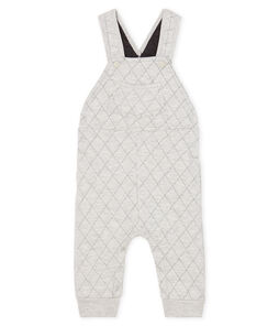 Baby Boys' Long Quilted Tube-Knit Dungarees Beluga grey