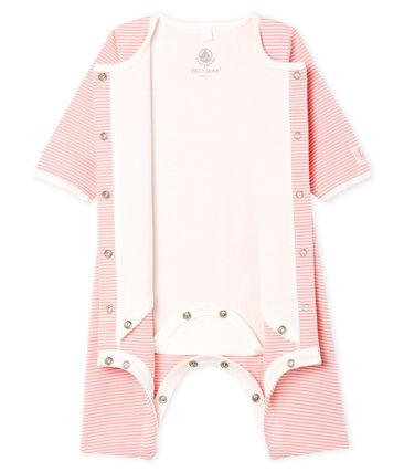 Baby Girls' Footless Ribbed Bodyjama Charme pink / Marshmallow white