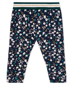 Baby Girls' Printed Tube Knit Trousers Smoking blue / Multico white
