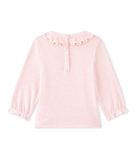 Baby girls' striped T-shirt Marshmallow white / Petal pink