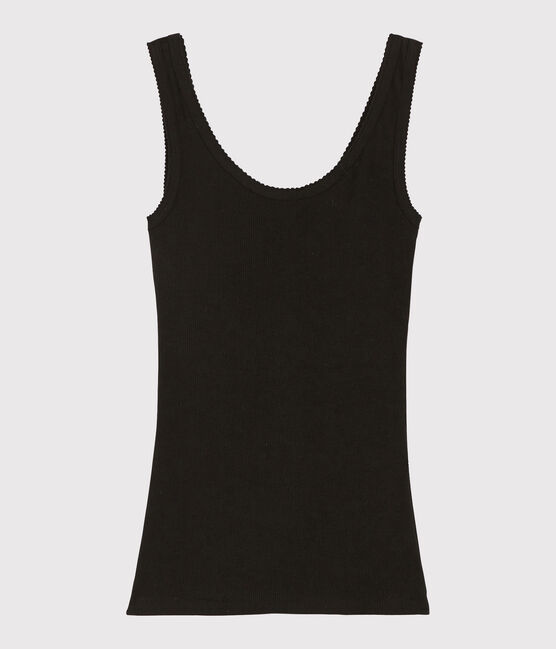 Women's wool and cotton blend tank top Noir black