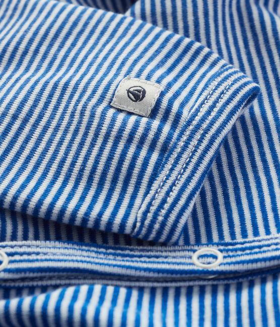 Babies' Blue Striped Cotton Sleepsuit Pablito blue / Marshmallow white